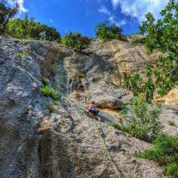woman rock climbing in kompanj istria croatia - Terra Magica Croatia - climbing croatia