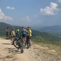 Group of cyclists enjoying the scenery on a Croatia e-bike tour