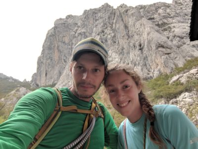 Couple rock climbing in Paklenica National Park, Croatia
