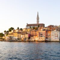 Houses in Rovinj old town at sunset