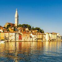 sun shining on the houses in Rovinj Istria Croatia
