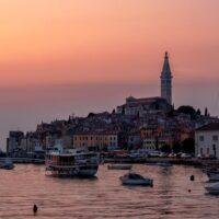 Rovinj old town in Istria Croatia at sunset